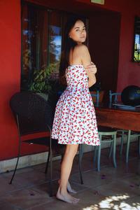 Hot Li Moon Strips Her Light Summer Dress