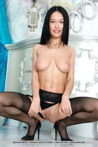 Cute Mila M In Black Stockings
