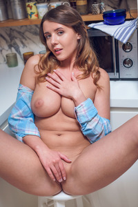 Busty Teen Sybil A Fingering Her Closeup Pussy At Kitchen