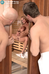 Blonde Sharon Pink Taking A Two Stiff Cocks