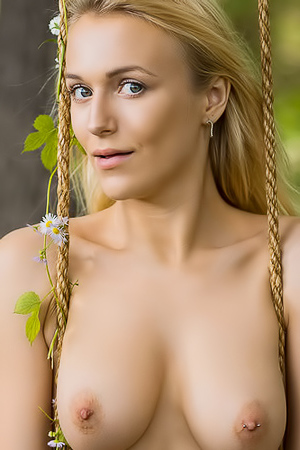Naked Blonde Vika Posing In The Forest