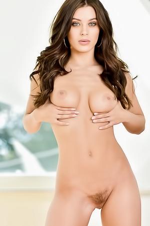 Hot Brunette Shows Solid Strip