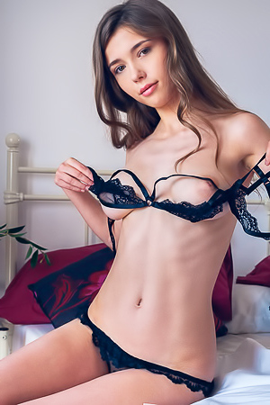 Mila Azul Busty Teen In Sexy Black Lingerie