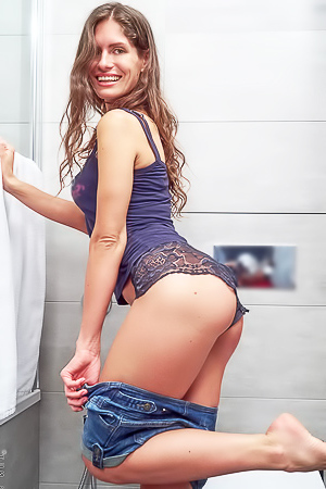Young Brunette Lana Stotch Having Fun In The Bathroom