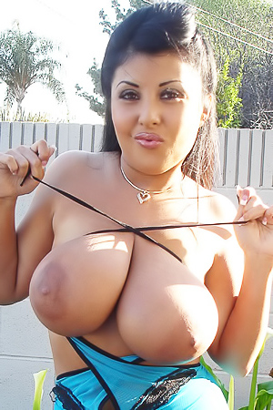 Ms Jaylene Rio?s massive jugs can?t be contained in this dress