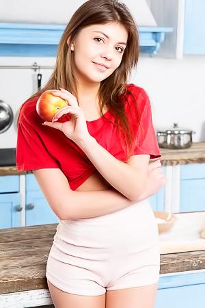 Wonderful Teen Monika Strips Naked In The Kitchen