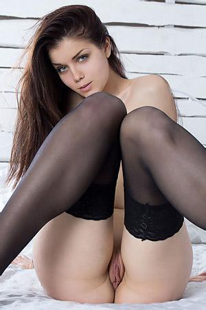 Sensual Girl In Black Stockings