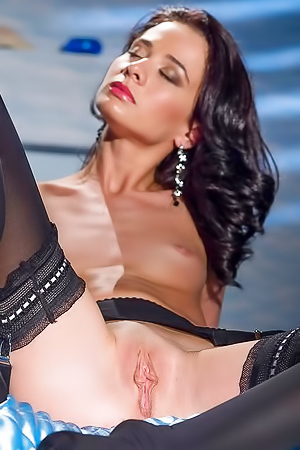 Nelly Slim Brunette In Erotic Underwear Posing